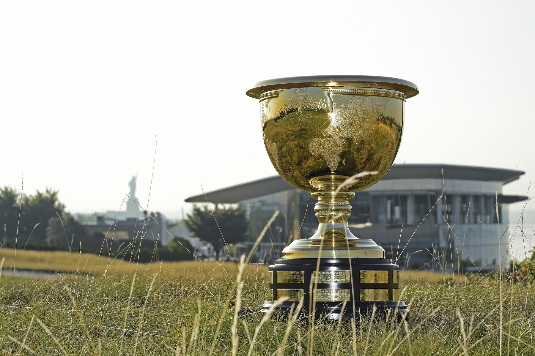 JERSEY CITY, NJ - AUGUST 26: At a flag-raising ceremony today overlooking the Manhattan skyline and Statue of Liberty, PGA TOUR Commissioner Tim Finchem officially announced Liberty National as host site for The Presidents Cup when it is next staged in the United States, in 2017. The announcement is part of a 25- year partnership between Liberty National and the PGA TOUR, which will bring a total of 10 PGA TOUR events to the venue over the course of the agreement. Joining Finchem to mark the occasion was Liberty National co-founders Paul Fireman and Dan Fireman, as well as Jersey City Major Steven Fulop. on August 26, 2014 in Jersey City, New Jersey. (Photo by Chris Condon/PGA TOUR) *** Local Caption ***